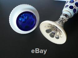 Bohemian Czech Moser Crystal Urn Vase Portrait White Overlay Cut To Cobalt