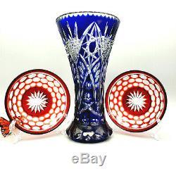 Bohemian Czech Vase Crystal Cobalt Ruby Bowls Cut to Clear set