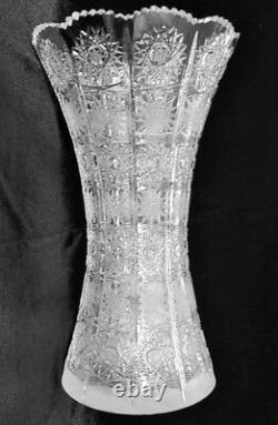 Bohemian Czech Vintage Crystal 10 Tall Vase Hand Cut Queen Lace 24% Lead Glass