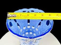 Bohemian Czech White Cut To Light Blue Gilded Heavy Crystal Large 8 1/8 Vase