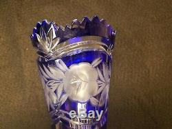 Bohemian Czech cobalt blue crystal glass cut to clear saw tooth edges floral
