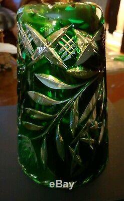 Bohemian Emerald Green Cut Lead Crystal Glass Vase 8 tall