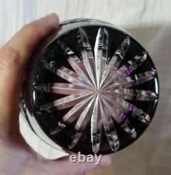 Bohemian Heavy Crystal Cut to Clear Vase Purple Amethyst 10 tall x 6 diameter