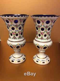 Bohemian Pair of Cased Milky Cut to Cobalt Blue Crystal Glass Vases, 9 1/4 H