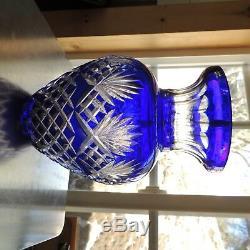 Bohemian Polish Cobalt Blue CUT TO CLEAR 24% Lead Crystal 10 1/2 Vase