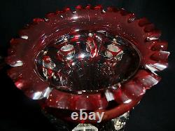Bohemian Ruby Glass Cut to Clear Lustre Vase 19th Century