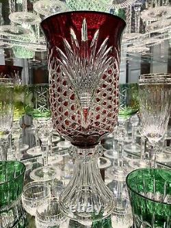 Bohemian Ruby Red Cut To Clear Crystal Pedestal Vase Torchiere Mint