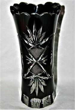 Bohemian Vintage Czech Dark Cranberry Cut-to-Clear Crystal Vase