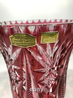 Bohemian West Germany Bavaria Hand Cut Lead Crystal Cranberry Red Glass Vase