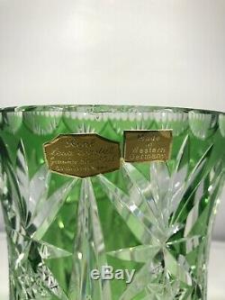 Bohemian West Germany Bavaria Hand Cut Lead Crystal Emerald Green Glass Vase