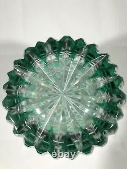 Bohemian West Germany Hand Cut Lead Crystal Emerald Green Glass Vase