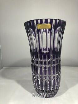 Bohemian West Germany Hand Cut Lead Crystal Purple Glass Vase