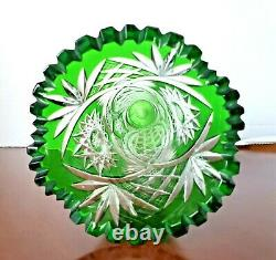 Bohemian vintage hand cut to clear green glass tall crystal vase 8.5 H