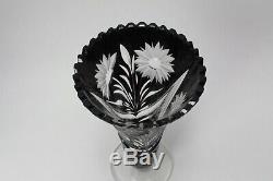 Brandenburg Crystal Germany Hand Made Hand cutting Crystal Vase Rare Black