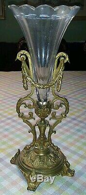 C1900 Dore Bronze & Cut Crystal Epergne Vase