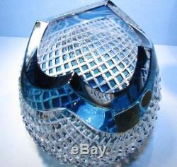 CAESAR CRYSTAL Azure Urn Vase Bowl Hand Cut to Clear Overlay Czech Bohemian