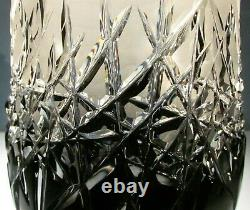 CAESAR CRYSTAL Black Vase Hand Cut to Clear Overlay Czech Bohemia Cased Heavy