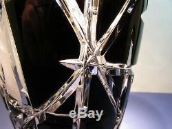 CAESAR CRYSTAL Black Vase Hand Cut to Clear Overlay Czech Bohemian Cased