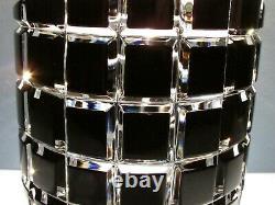 CAESAR CRYSTAL Black Vase Hand Cut to Clear Overlay Czech Bohemian Cased Heavy