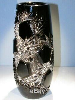 CAESAR CRYSTAL Black Vase Hand Cut to Clear Overlay Czech Bohemian Cased LG