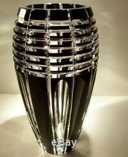 CAESAR CRYSTAL Black Vase Hand Cut to Clear Overlay Czech Bohemian Cased NIB NEW