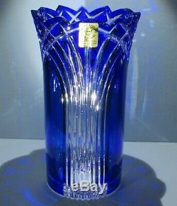 CAESAR CRYSTAL Cobalt Blue Vase Blown Cut to Clear Overlay Czech Bohemian Cased