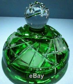 CAESAR CRYSTAL Jar w Lid Bowl Emerald Green Cut to Clear Overlay Czech Bohemian