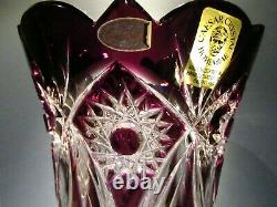 CAESAR CRYSTAL Purple Vase Blown Cut to Clear Overlay Czech Bohemia Cased