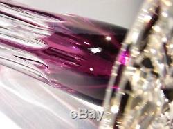 CAESAR CRYSTAL Purple Vase Hand Cut to Clear Overlay Czech Bohemia Bohemian