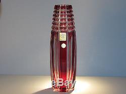 CAESAR CRYSTAL Red Vase Hand Cut to Clear Overlay Czech Bohemia Bohemian