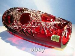 CAESAR CRYSTAL Red Vase Hand Cut to Clear Overlay Czech Bohemian Cased Bohemiae