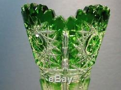 CAESAR CRYSTAL Vase Emerald Green Hand Cut to Clear Overlay Czech Bohemian Cased