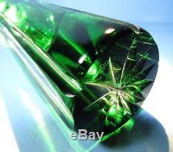 CAESAR CRYSTAL Vase Emerald Green Hand Cut to Clear Overlay Czech Bohemian Cased