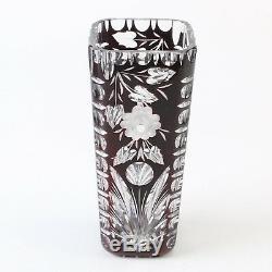 CAESAR CRYSTAL Vase Hand Cut to Clear Overlay Czech Bohemian
