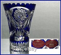 COBALT BLUE Trumpet Vase CUT TO CLEAR CRYSTAL Brandenburg GERMANY Schoenborner