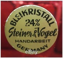 CRANBERRY PINK Vase CUT TO CLEAR CRYSTAL Nachtmann, Steiner & Vogel BYZANZ Gold
