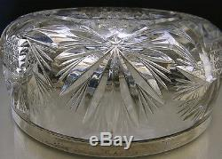 C. 1900 ELEGANT GERMAN SILVER & HAND CUT CRYSTAL LARGE VASE/bowl