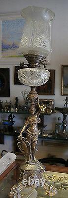 C. 1900 Victorian Deep Cut Crystal Silvered Bronze Oil Lamp Sculpture Decor