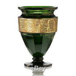 C. 1920 Moser emerald facet cut crystal vase with oroplastic frieze