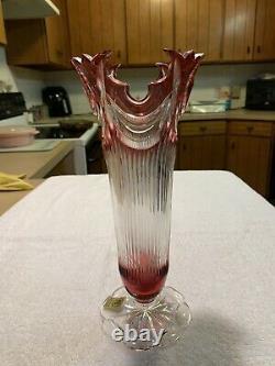 Caesar Crystal Bohemia Hand Cut Diadem Vase Ruby Red 11 With Sticker