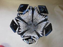 Caesar Crystal Bohemiae Black Cut to Clear Glass Vase Hand Cut Crystal