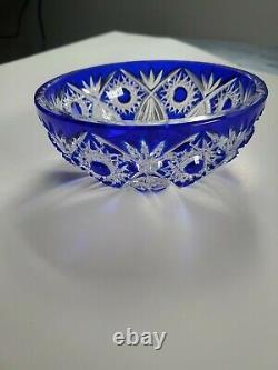 Caesar Crystal Bohemian Cobalt Blue Hand Cut To Clear 6 Bowl