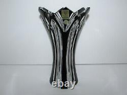 Caesar Crystal Czech Black Cut to Clear Crystal Vase 948
