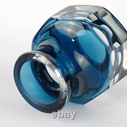 Carl Meltzer Glas Vase, Überfang, Facetten Schliff Cut Crystal, Haida 20er 30er
