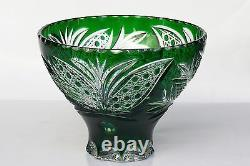 Cased CRYSTAL BOWL /FRUIT VASE 17x22 cm GREEN Cut to clear overlay, RUSSIA, New