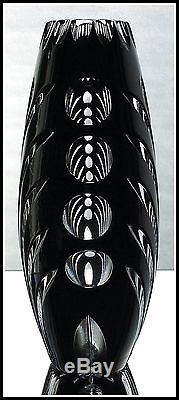 Cattail Bulrush BLACK Vase CUT TO CLEAR CASED LEAD CRYSTAL Contemporary GERMANY