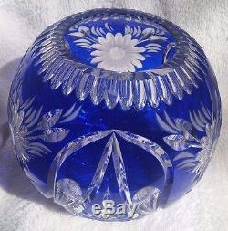 Cobalt Blue Cut To Clear Crystal Round Vase/Bowl