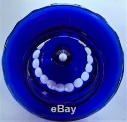 Cobalt Blue Cut to Clear Bohemian Czech Ajka Crystal Glass Urn Vase Lidded Jar