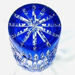 Cobalt Blue Cut to Clear Czech Bohemian Crystal Glass Vase 6.25 in Tall