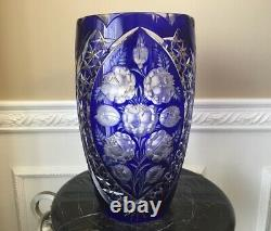 Cobalt Blue Cut to Clear Large 12 Crystal Centerpiece Vase With Frosted flowers